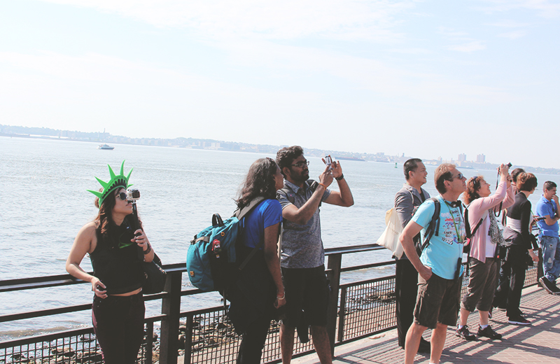 tourists at liberty island
